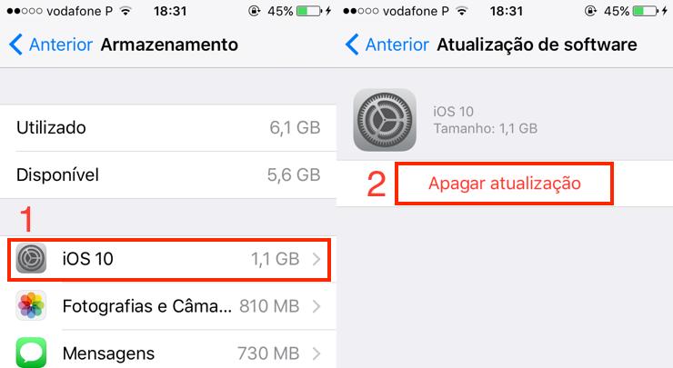 iOS: Apagar atualização já descarregada